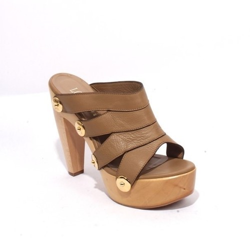 Beige Leather Platform / Heels Sandals