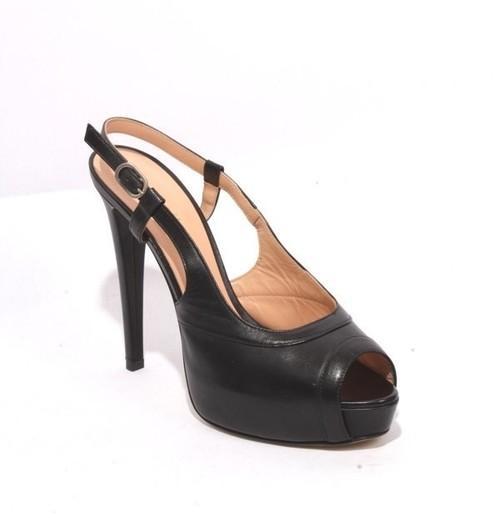 Black Leather Stiletto Heel Sandals