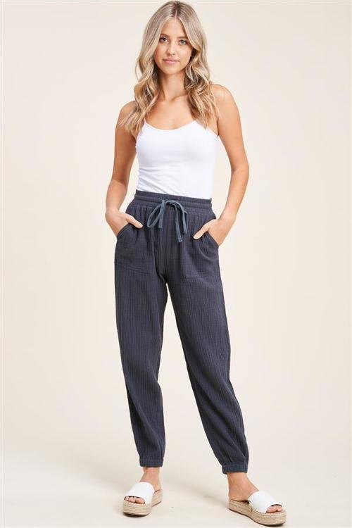 Gauze Pants W/ Elastic Drawstring Charcoal