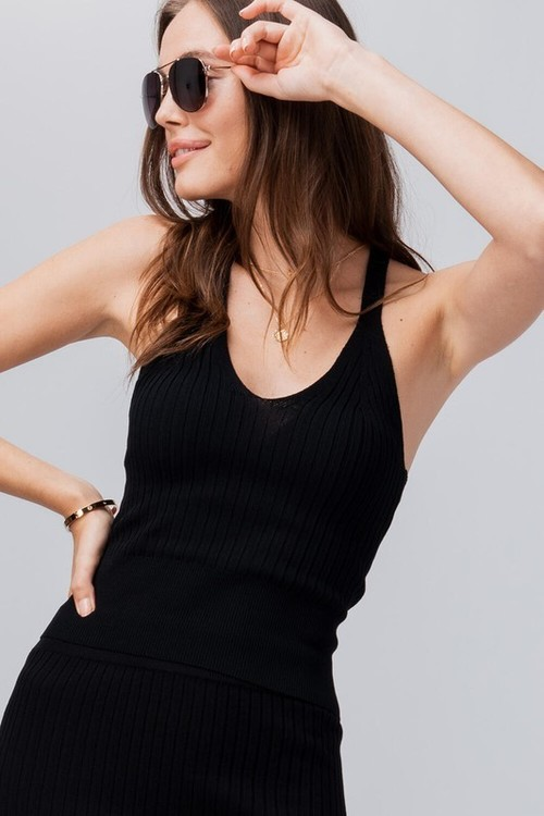 Rib Knit Open Back Cami Black