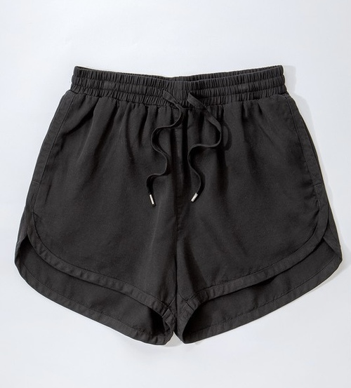 Tencel Denim Draw String Shorts Black