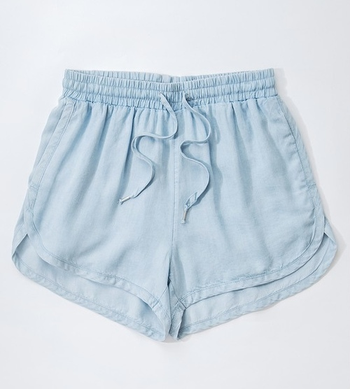 Tencel Denim Draw String Shorts Light Blue