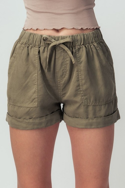 Patch Pocket Summer Shorts Olive