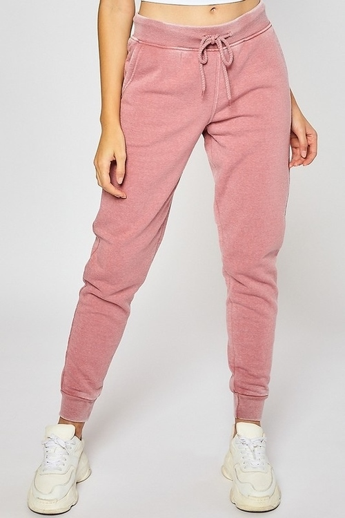 Fleece Burn Out Joggers Dark Mauve