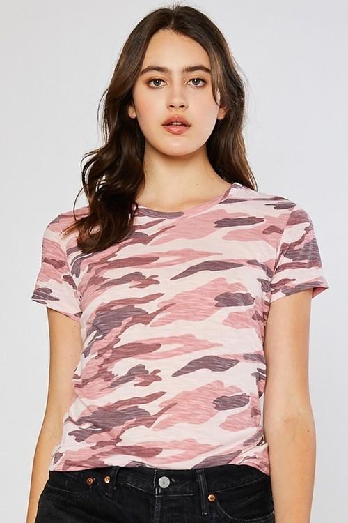 Camo Slub Short Sleeve Tee Camo Pink
