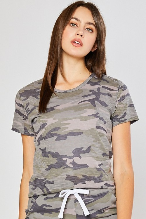 Camo Cotton Slub Round Neck Tee Forest
