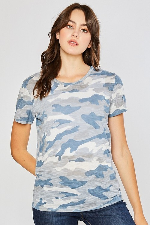 Camo Cotton Slub Round Neck Tee Light Blue