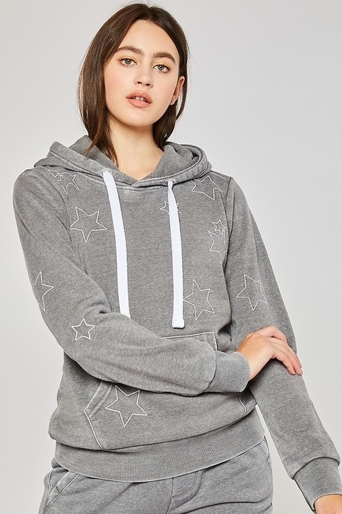 Burn Out Fleece Pullover W/ Star Embroidery Heather Grey
