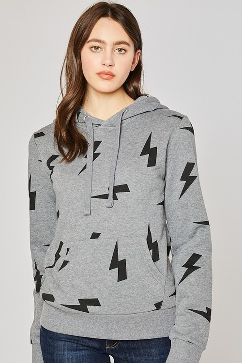 Fleece Hoodie W/ Lightning Bolt Heather Grey