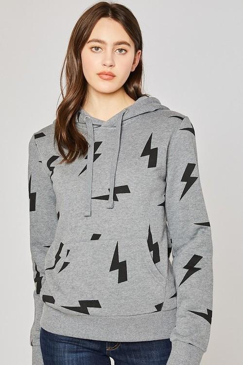 Fleece Hoodie W/ Lightning Bolt Heather Grey