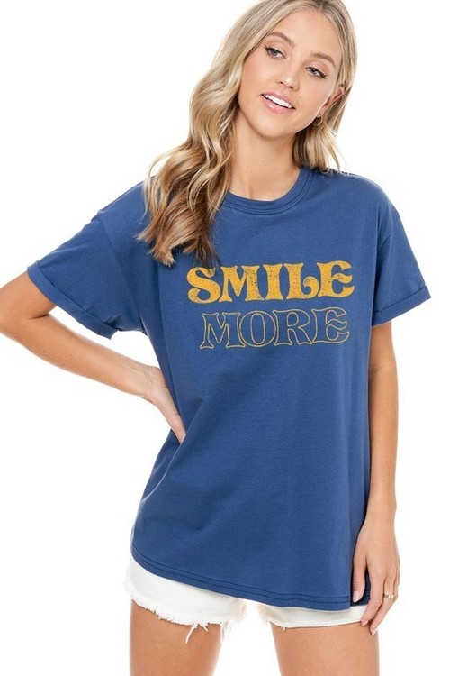 Smile More Graphic Tee Indigo Blue