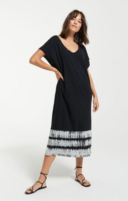 Eden Stripe Tie Dye Dress Black