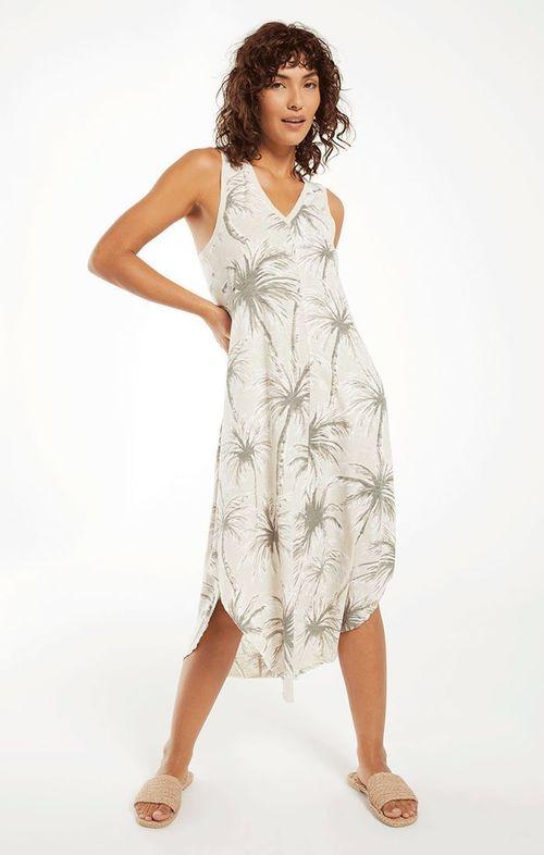 Reverie Coconut Palm Dress Grey