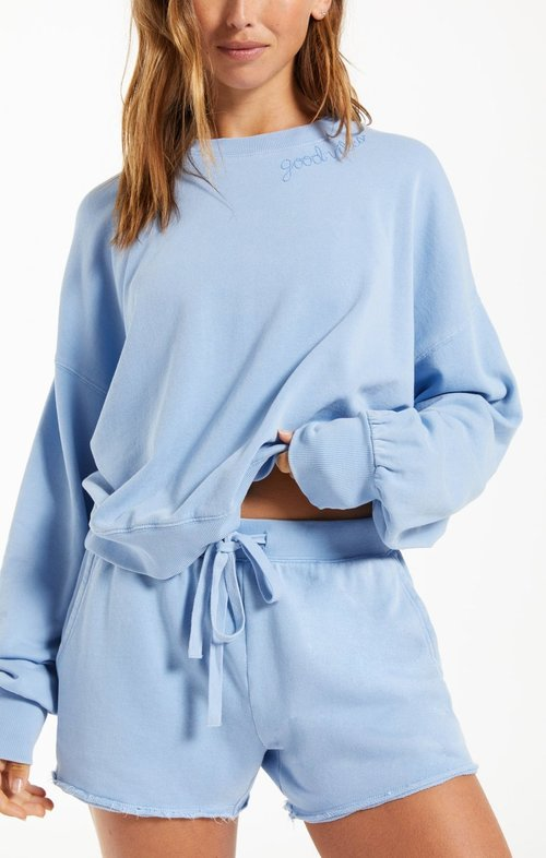 Lia Washed LS Top Perennial Blue