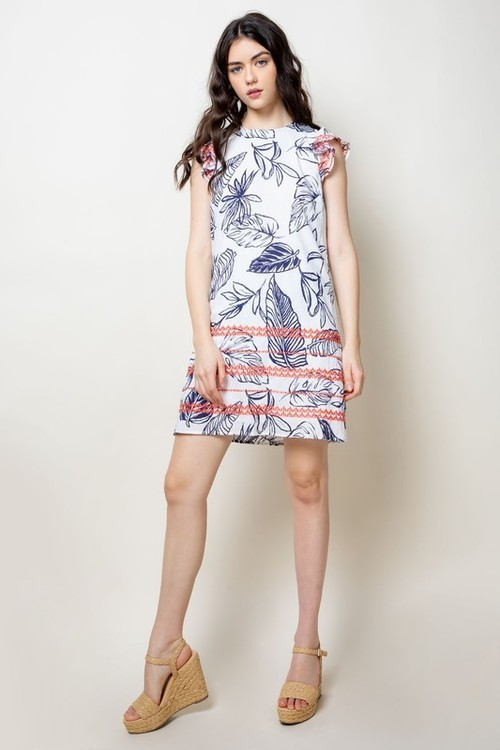 Printed Embroidered Shift Dress Navy