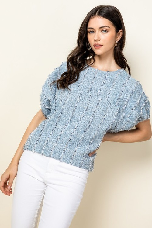 Fringe Short Sleeve Dolman Top Blue