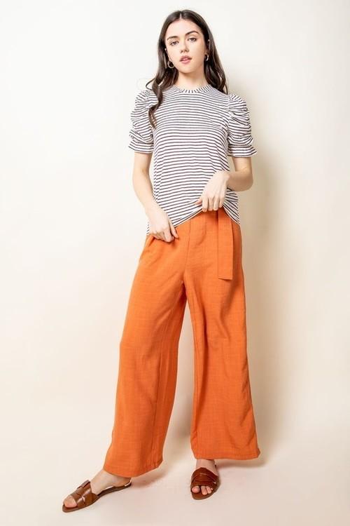 Ruched Sleeve Stripe Top White