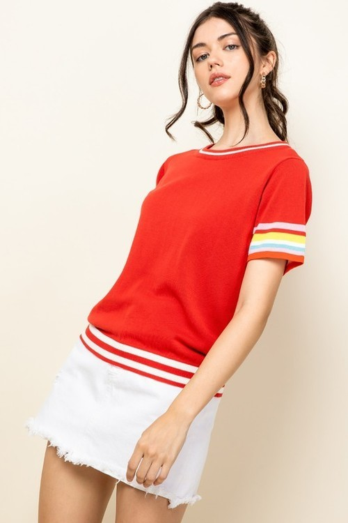 Stripe Sleeve Top Red