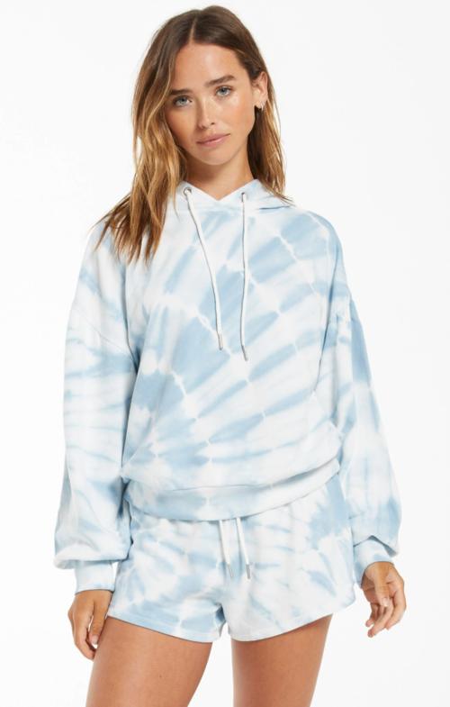 Z Supply Eva Spiral Tie-Dye Hoodie Blue Agave