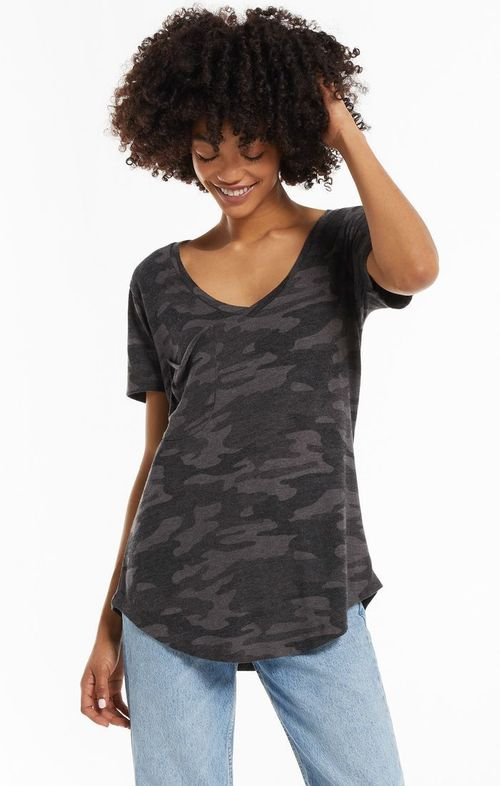 Camo Pocket Tee Dark Charcoal