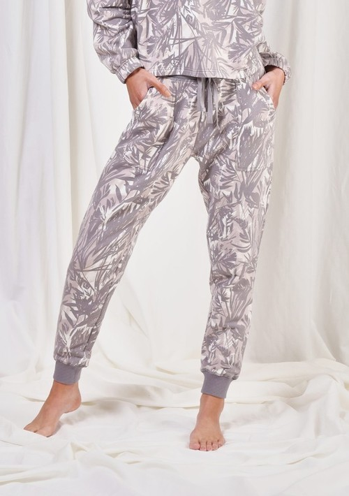 Printed French Terry Jogger Grey/Natural