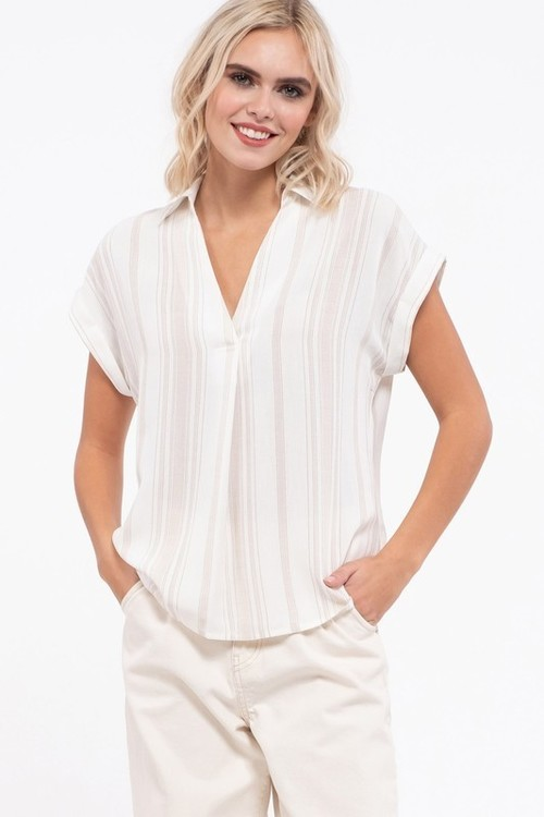 Linen Stripe Sleeve Shirt Beige