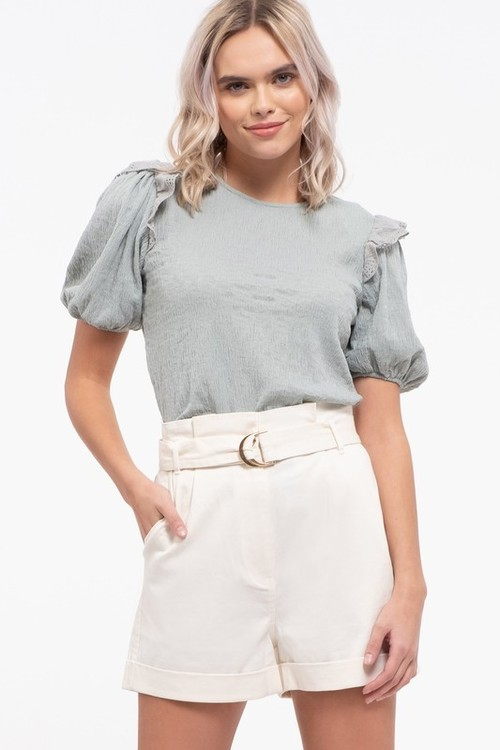 Contrast Ruffle Knit Top Sage