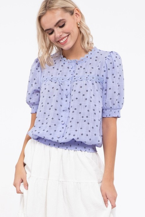 Floral Print Woven Top Blue/Multi