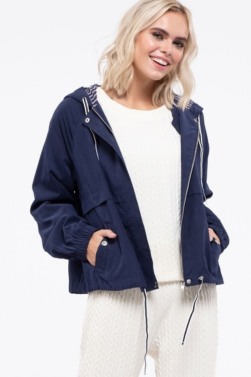 Contrast Hooded Jacket Navy