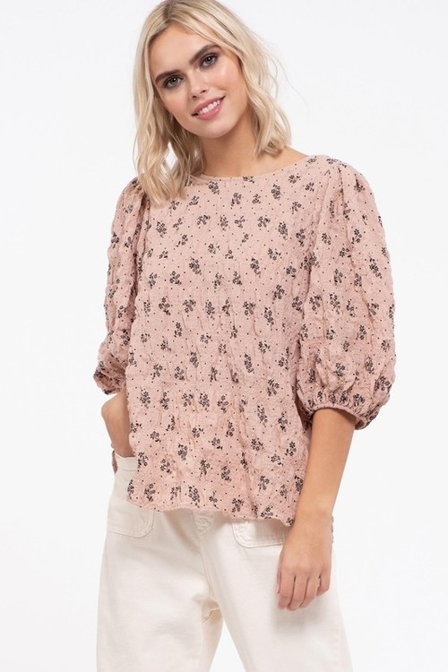 Puckered Effect Balloon Sleeve Top Blush