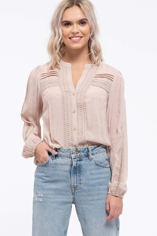 Lace Inset Button Down Top Beige