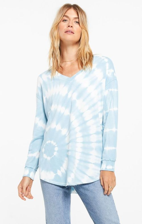 V Neck Spiral Tie Dye Weekender Blue Agave