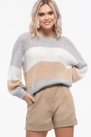 Colorblock Knit Sweater Grey/Multi