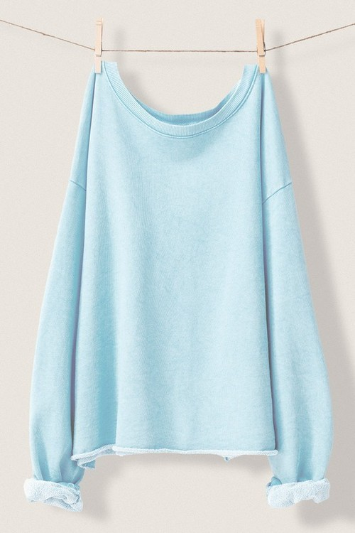 Washed French Terry Sweatshirt Light Blue