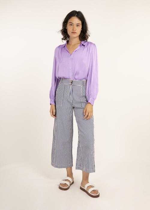 Striped Patch Pocket Pants Blue