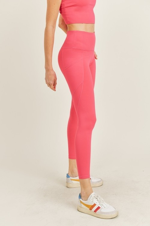 Solid & Slanted Highwaist Leggings Raspberry