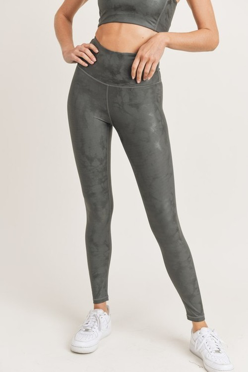 Metallic Print Highwaist Leggings Gun Metal
