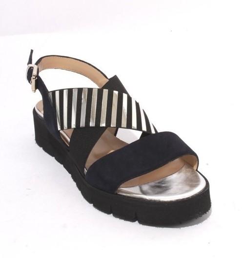 Navy Black Silver Suede Elastic Platform Sandals