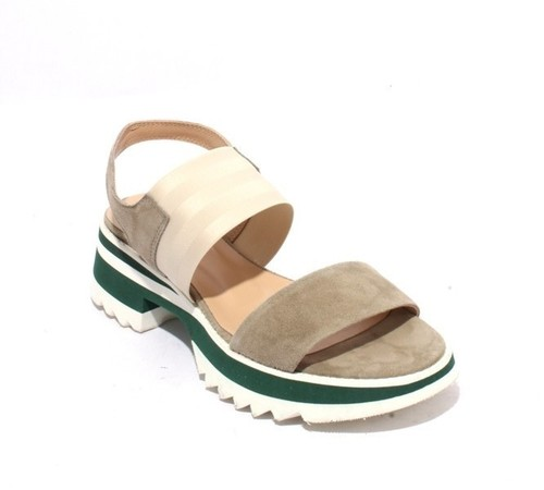Multicolor Suede Leather Elastic Platform Sandals
