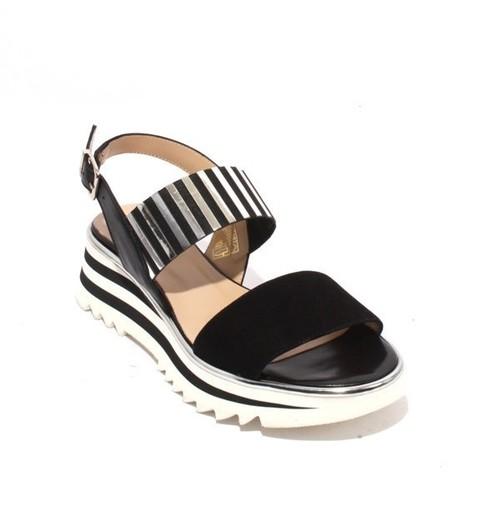 Black Silver Suede Leather Elastic Platform Sandal