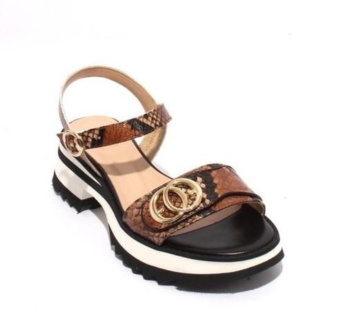 Multicolor Snake Print Leather Platform Sandals