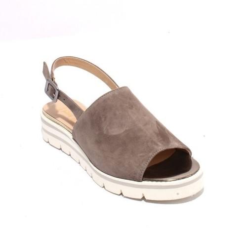 Gray Gold Suede Leather Platform Buckle Sandals