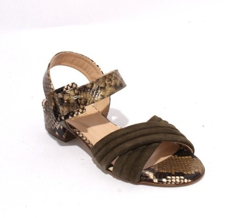Green Animal Print Suede Leather Buckle Sandals