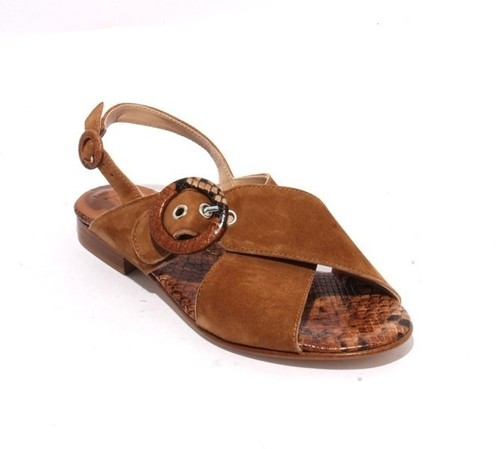 Brown Animal Print Suede Leather Buckle Sandals