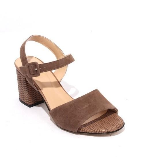 Brown Suede Leather Buckle Heel Sandals