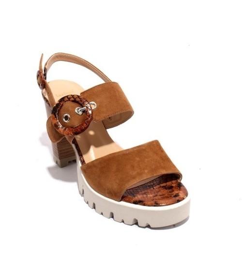 Brown Animal Print Suede Buckle Heel Platform Sandal