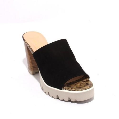 Multicolor Suede Platform Slide Heel Sandals