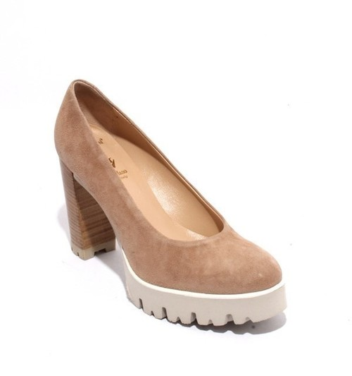 Beige Suede Leather Platform Heel Shoes Pumps
