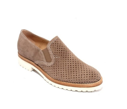 Brown Suede Leather Elastic Slip On Flats Shoes