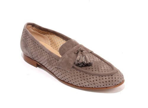 Gray Suede Leather Slip On Flats Oxfords Shoes